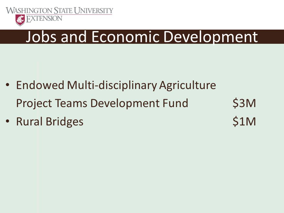 Jobs and Economic Development Endowed Multi-disciplinary Agriculture Project Teams Development Fund$3M Rural Bridges$1M
