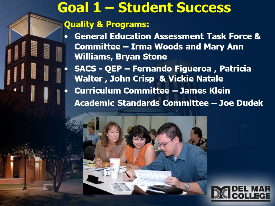 Goal 1 – Student Success Achieving the Dream Initiative Core Team – Sandra Valerio – Leader Data Team – David Andrus – Leader Establishing a Culture of Evidence – data used to make decisions To help students: -Successfully complete a developmental or college course -Persist from one term to the next -Earn a certificate or degree