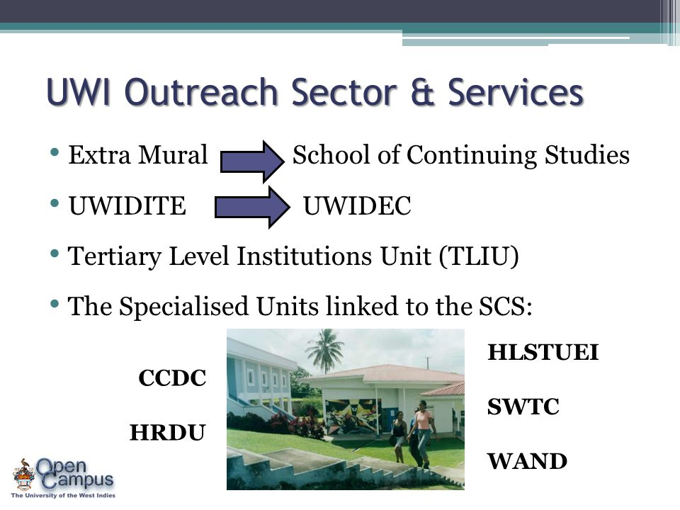 UWI Outreach Sector & Services Extra Mural School of Continuing Studies UWIDITE UWIDEC Tertiary Level Institutions Unit (TLIU) The Specialised Units l