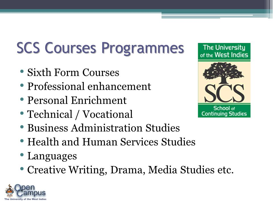 SCS Courses Programmes Sixth Form Courses Professional enhancement Personal Enrichment Technical / Vocational Business Administration Studies Health and Human Services Studies Languages Creative Writing, Drama, Media Studies etc.