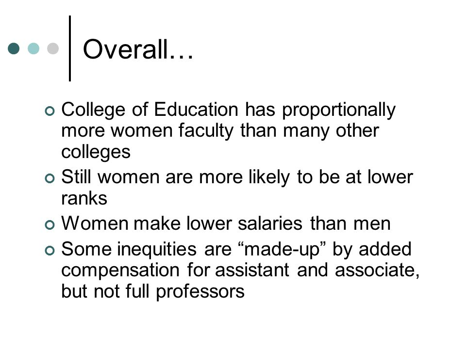Overall… College of Education has proportionally more women faculty than many other colleges Still women are more likely to be at lower ranks Women make lower salaries than men Some inequities are made-up by added compensation for assistant and associate, but not full professors