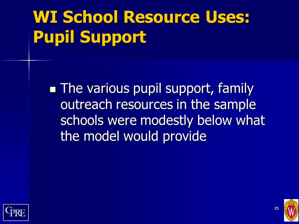 25 WI School Resource Uses: Pupil Support The various pupil support, family outreach resources in the sample schools were modestly below what the mode