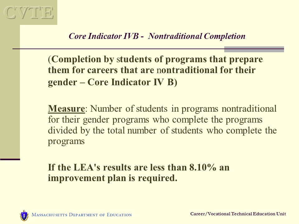 Career/Vocational Technical Education Unit Core Indicator IVB - Nontraditional Completion (Completion by students of programs that prepare them for careers that are nontraditional for their gender – Core Indicator IV B) Measure: Number of students in programs nontraditional for their gender programs who complete the programs divided by the total number of students who complete the programs If the LEA s results are less than 8.10% an improvement plan is required.