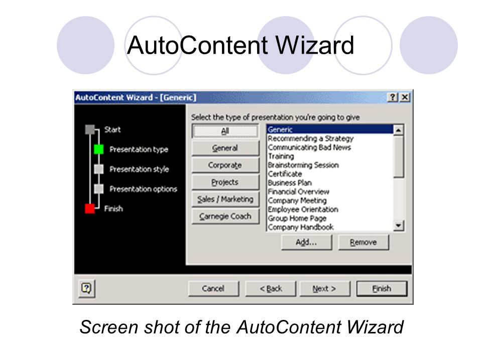 AutoContent Wizard Screen shot of the AutoContent Wizard