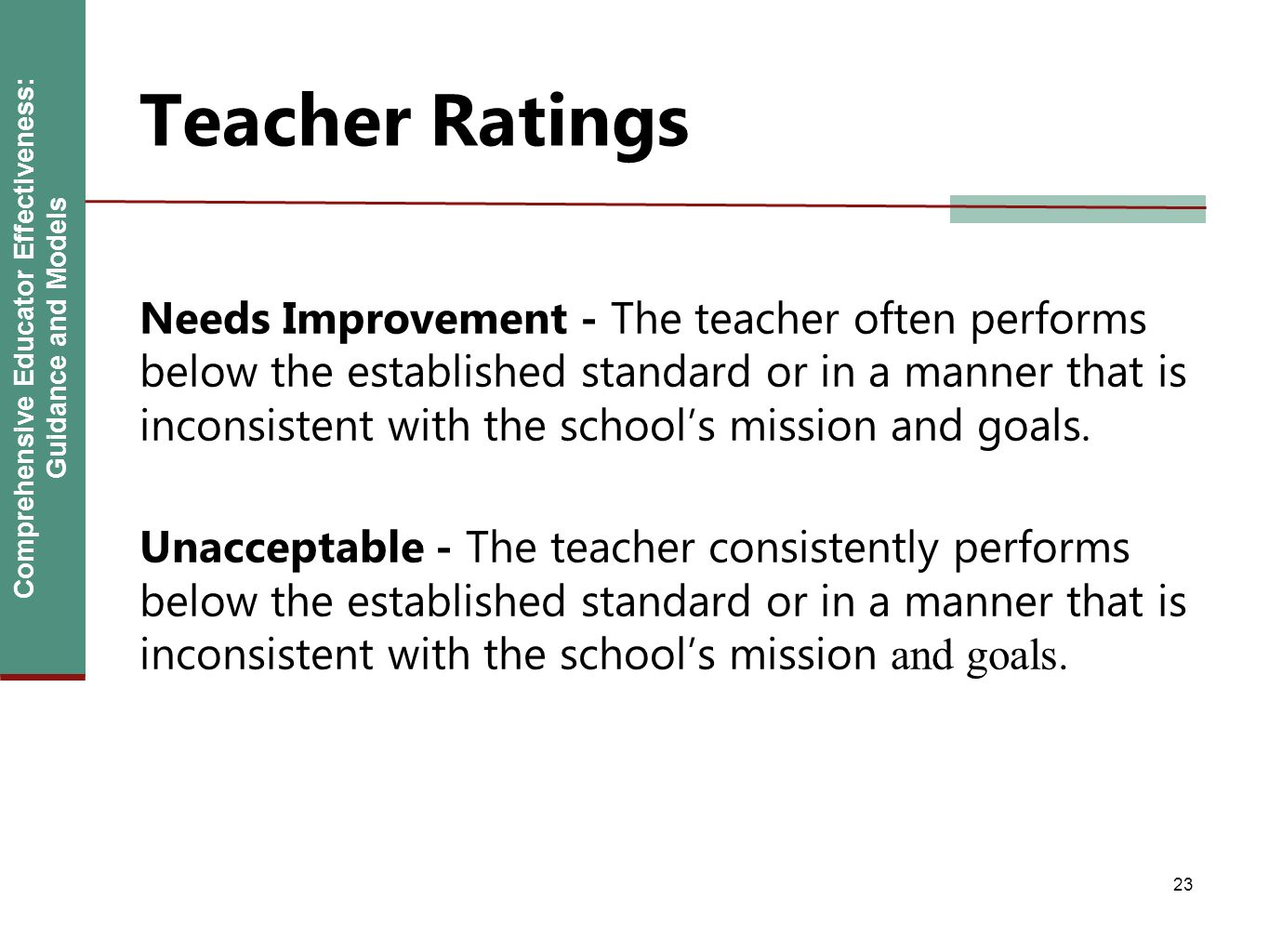 Comprehensive Educator Effectiveness: Guidance and Models Teacher Ratings Needs Improvement - The teacher often performs below the established standar