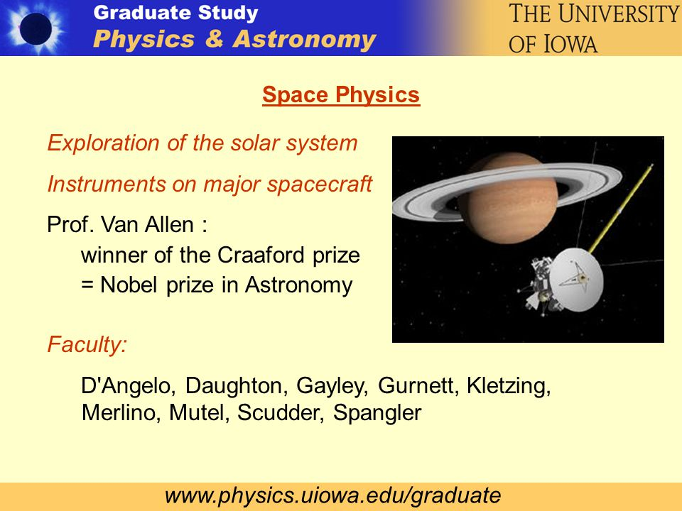 www.physics.uiowa.edu/graduate Space Physics Exploration of the solar system Instruments on major spacecraft Prof.
