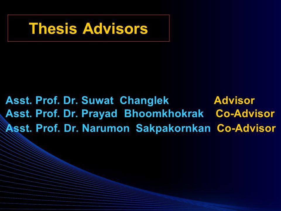Thesis Advisors Asst. Prof. Dr. Suwat Changlek Advisor Asst.