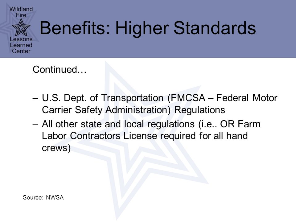 Benefits: Higher Standards Continued… –U.S.Dept.