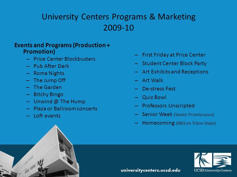 University Centers Programs & Marketing 2009-10 Marketing and Promotions – Pocket Events Guide (PEG) – University Centers website – TritonLink, Blink, UCSD Master Calendar – Course Catalogue – Campus Tours – RA trainings, orientations, etc.