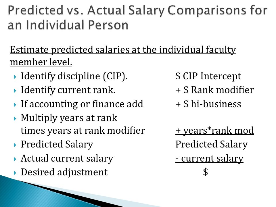 Estimate predicted salaries at the individual faculty member level.