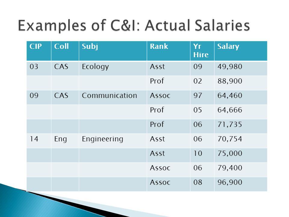 CIPCollSubjRankYr Hire Salary 03CASEcologyAsst0949,980 Prof0288,900 09CASCommunicationAssoc9764,460 Prof0564,666 Prof0671,735 14EngEngineeringAsst0670,754 Asst1075,000 Assoc0679,400 Assoc0896,900