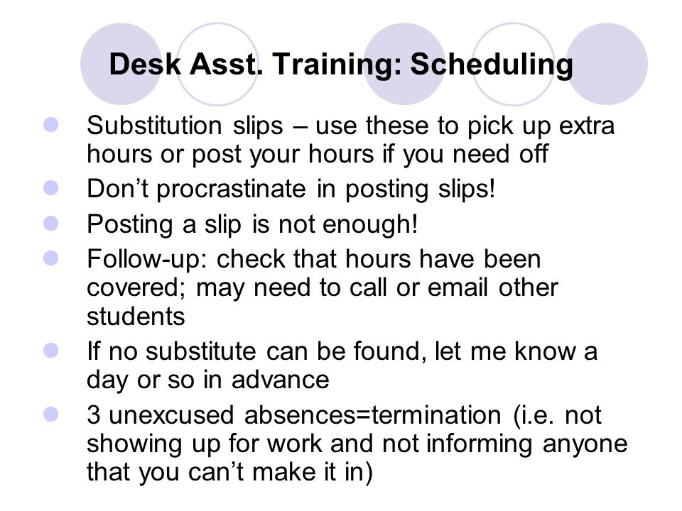 Desk Asst. Training: Scheduling Substitution slips – use these to pick up extra hours or post your hours if you need off Don't procrastinate in postin