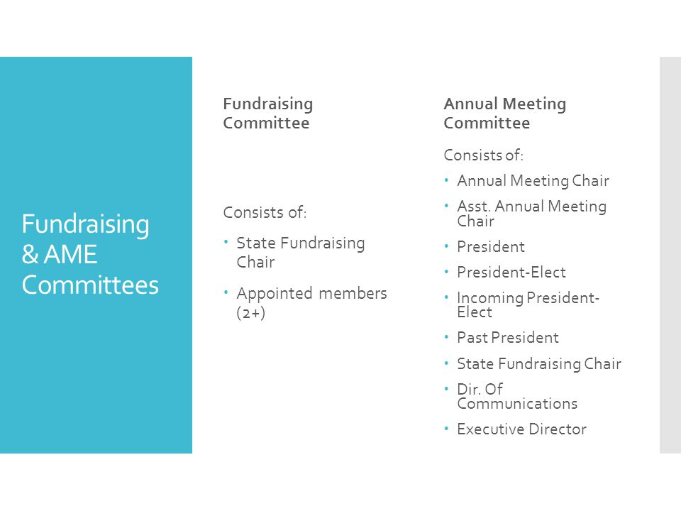 Fundraising & AME Committees Fundraising Committee Consists of:  State Fundraising Chair  Appointed members (2+) Annual Meeting Committee Consists of:  Annual Meeting Chair  Asst.
