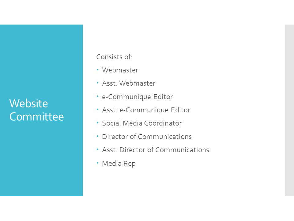 Website Committee Consists of:  Webmaster  Asst.
