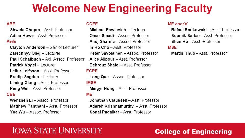 Welcome New Engineering Faculty ABE Shweta Chopra – Asst. Professor Adina Howe – Asst. Professor AerE Clayton Anderson – Senior Lecturer Zarechnyy Ole