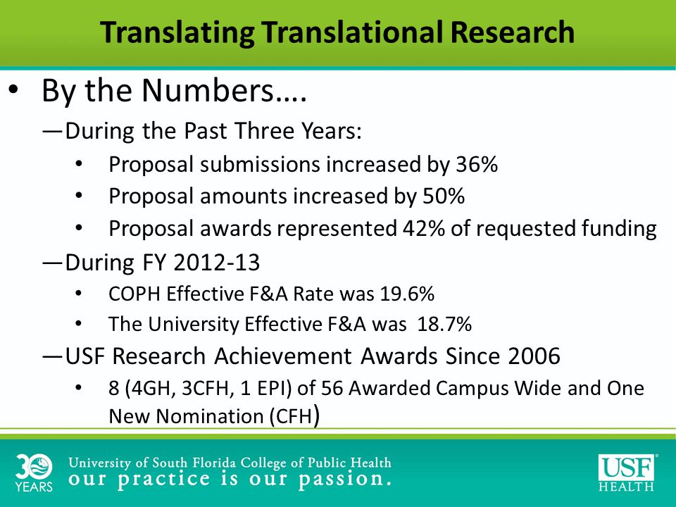 Translating Translational Research By the Numbers….