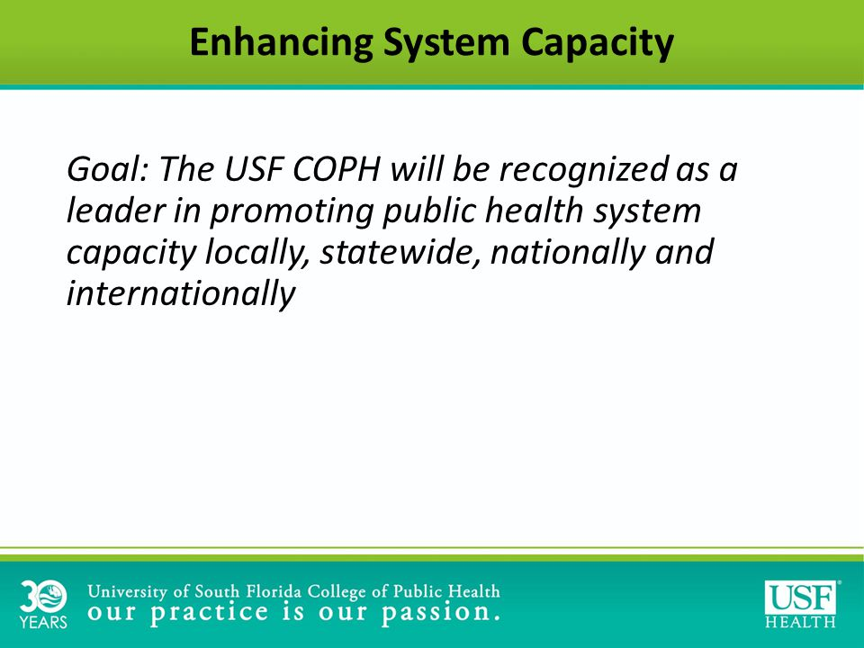 Enhancing System Capacity Goal: The USF COPH will be recognized as a leader in promoting public health system capacity locally, statewide, nationally and internationally