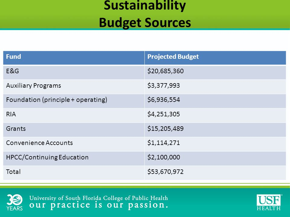 Sustainability Budget Sources FundProjected Budget E&G$20,685,360 Auxiliary Programs$3,377,993 Foundation (principle + operating)$6,936,554 RIA$4,251,305 Grants$15,205,489 Convenience Accounts$1,114,271 HPCC/Continuing Education$2,100,000 Total$53,670,972