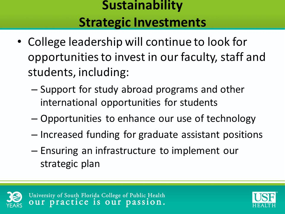 Sustainability Strategic Investments College leadership will continue to look for opportunities to invest in our faculty, staff and students, including: – Support for study abroad programs and other international opportunities for students – Opportunities to enhance our use of technology – Increased funding for graduate assistant positions – Ensuring an infrastructure to implement our strategic plan