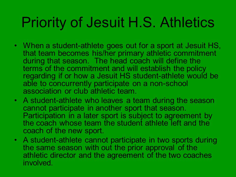 Priority of Jesuit H.S.