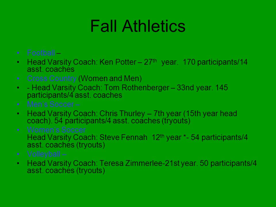 Fall Athletics Football – Head Varsity Coach: Ken Potter – 27 th year.