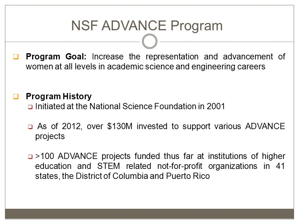 NSF ADVANCE Program  Program Goal: Increase the representation and advancement of women at all levels in academic science and engineering careers  Program History  Initiated at the National Science Foundation in 2001  As of 2012, over $130M invested to support various ADVANCE projects  >100 ADVANCE projects funded thus far at institutions of higher education and STEM related not-for-profit organizations in 41 states, the District of Columbia and Puerto Rico