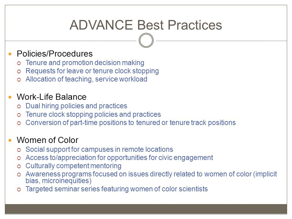 ADVANCE Best Practices Policies/Procedures  Tenure and promotion decision making  Requests for leave or tenure clock stopping  Allocation of teaching, service workload Work-Life Balance  Dual hiring policies and practices  Tenure clock stopping policies and practices  Conversion of part-time positions to tenured or tenure track positions Women of Color  Social support for campuses in remote locations  Access to/appreciation for opportunities for civic engagement  Culturally competent mentoring  Awareness programs focused on issues directly related to women of color (implicit bias, microinequities)  Targeted seminar series featuring women of color scientists