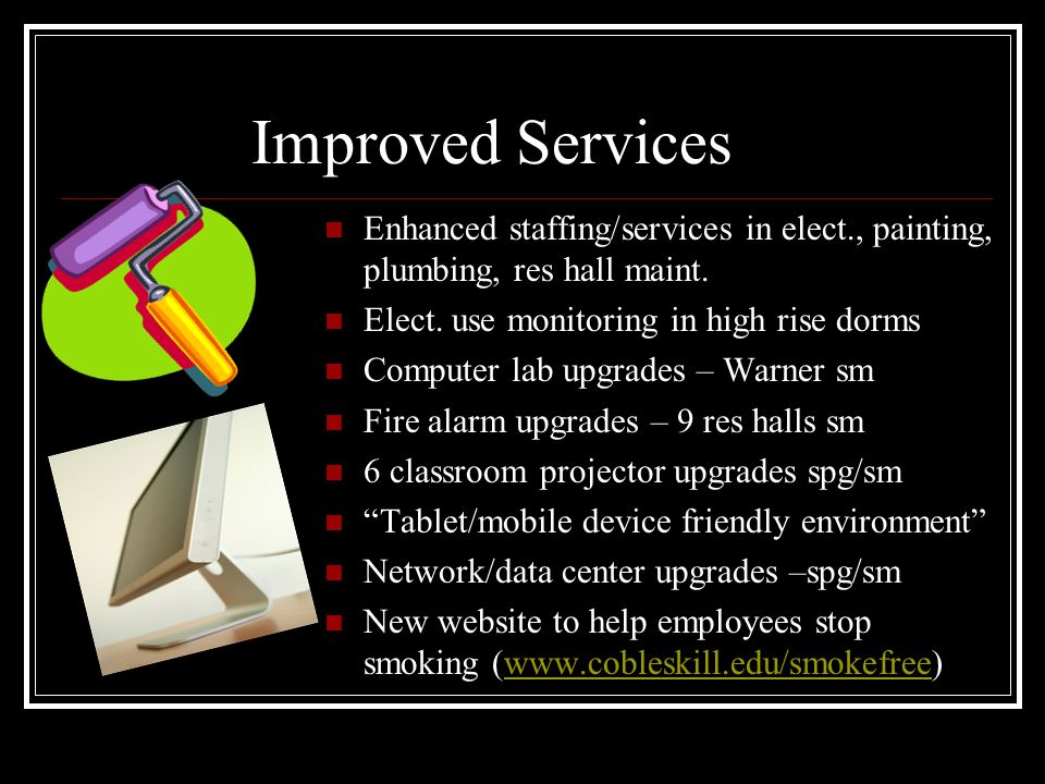 Improved Services Enhanced staffing/services in elect., painting, plumbing, res hall maint.