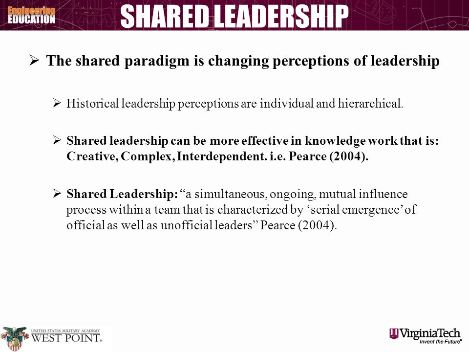 SHARED LEADERSHIP  The shared paradigm is changing perceptions of leadership  Historical leadership perceptions are individual and hierarchical.  S
