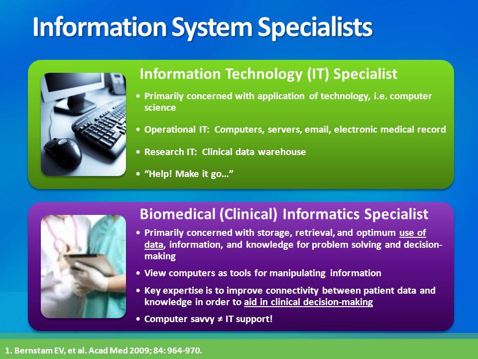 Information System Specialists Pr 1. Bernstam EV, et al. Acad Med 2009; 84: 964-970. Information Technology (IT) Specialist Primarily concerned with a