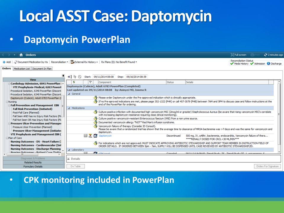 Local ASST Case: Daptomycin Daptomycin PowerPlan CPK monitoring included in PowerPlan
