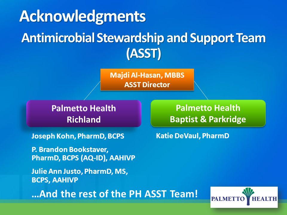 Antimicrobial Stewardship and Support Team (ASST) Joseph Kohn, PharmD, BCPS P. Brandon Bookstaver, PharmD, BCPS (AQ-ID), AAHIVP Julie Ann Justo, Pharm