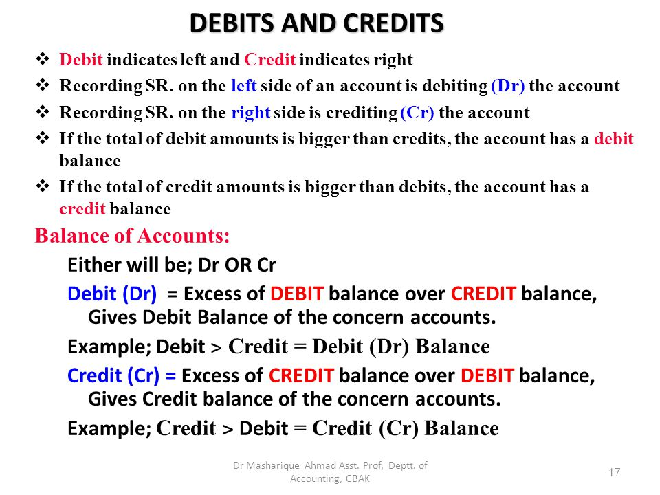 BASIC FORM OF ACCOUNT STUDY OBJECTIVE 2 The simplest form an account consists of  The title of the account  Left or debit side  Right or credit side The alignment of these parts resembles the letter T = T account Left or debit side Title of Account Right or credit side Debit balanceCredit balance 16 Dr Masharique Ahmad Asst.