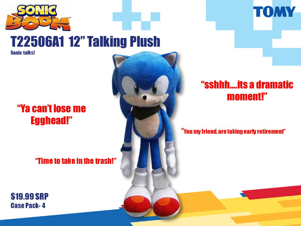 T22506A1 12 Talking Plush Sonic talks.