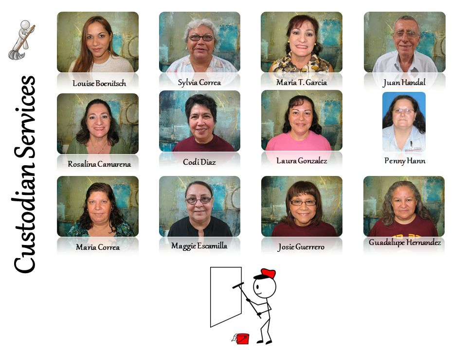 Custodian Services Sylvia Correa Maria Correa Rosalina Camarena Codi Diaz Maggie Escamilla Maria T. Garcia Laura Gonzalez Louise Boenitsch Josie Guerr