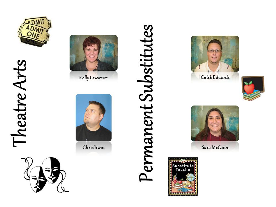 Theatre Arts Kelly Lawrence Chris Irwin Permanent Substitutes Sara McCann Caleb Edwards