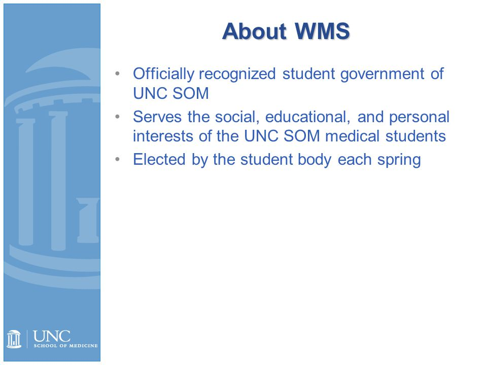 Asst VPs of Student Affairs 2 students, run individually Assist the VPs of Student Affairs as needed Work to ensure all WMS Student Affairs knowledge is maintained from year to year within the organization