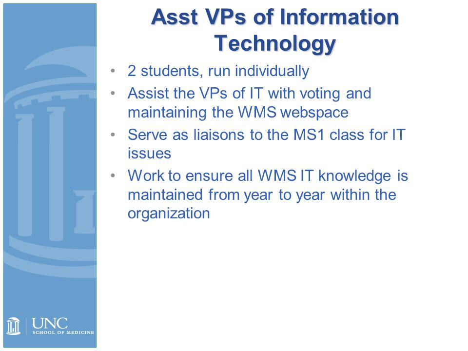 Asst VPs of Information Technology 2 students, run individually Assist the VPs of IT with voting and maintaining the WMS webspace Serve as liaisons to the MS1 class for IT issues Work to ensure all WMS IT knowledge is maintained from year to year within the organization