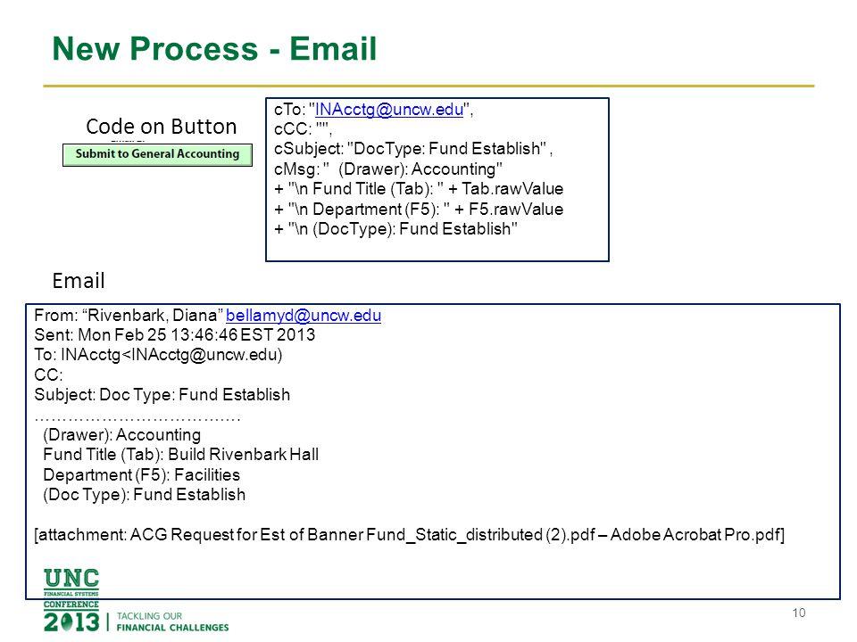 New Process - Email 10 cTo: INAcctg@uncw.edu ,INAcctg@uncw.edu cCC: , cSubject: DocType: Fund Establish , cMsg: (Drawer): Accounting + \n Fund Title (Tab): + Tab.rawValue + \n Department (F5): + F5.rawValue + \n (DocType): Fund Establish From: Rivenbark, Diana bellamyd@uncw.edubellamyd@uncw.edu Sent: Mon Feb 25 13:46:46 EST 2013 To: INAcctg<INAcctg@uncw.edu) CC: Subject: Doc Type: Fund Establish ……………………………….
