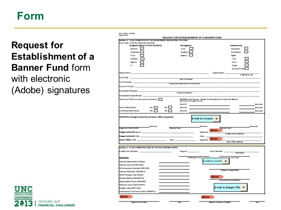 Form 3 Request for Establishment of a Banner Fund form with electronic (Adobe) signatures