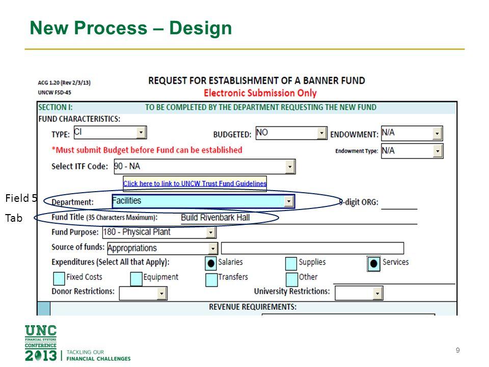 New Process – Design 9 Tab Field 5