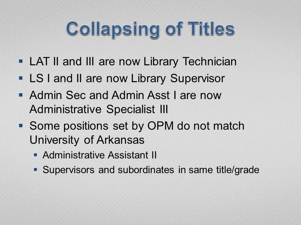 Current TitleCurrent Grade New TitleNew Grade Accounting Tech I12Fiscal Support TechnicianC108 Admin Asst I15Administrative Specialist IIIC112 Admin Asst II17Admin Support SupervisorC113 Admin Secretary14Admin Support SupervisorC113 Comp Supp Spec I18Comp Support TechnicianC115 Editor20EditorC117 Secretary II13Administrative Specialist IIC109