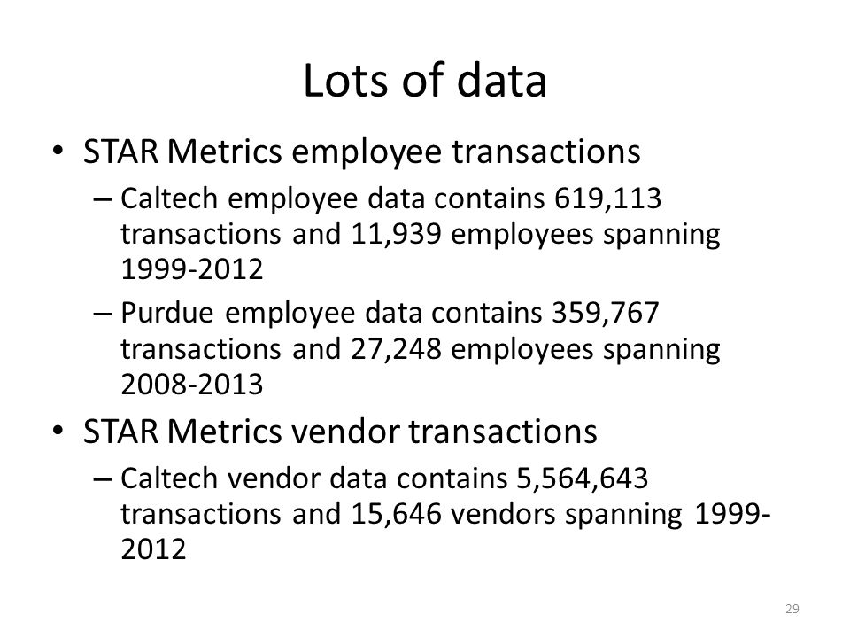 Lots of data STAR Metrics employee transactions – Caltech employee data contains 619,113 transactions and 11,939 employees spanning 1999-2012 – Purdue employee data contains 359,767 transactions and 27,248 employees spanning 2008-2013 STAR Metrics vendor transactions – Caltech vendor data contains 5,564,643 transactions and 15,646 vendors spanning 1999- 2012 29