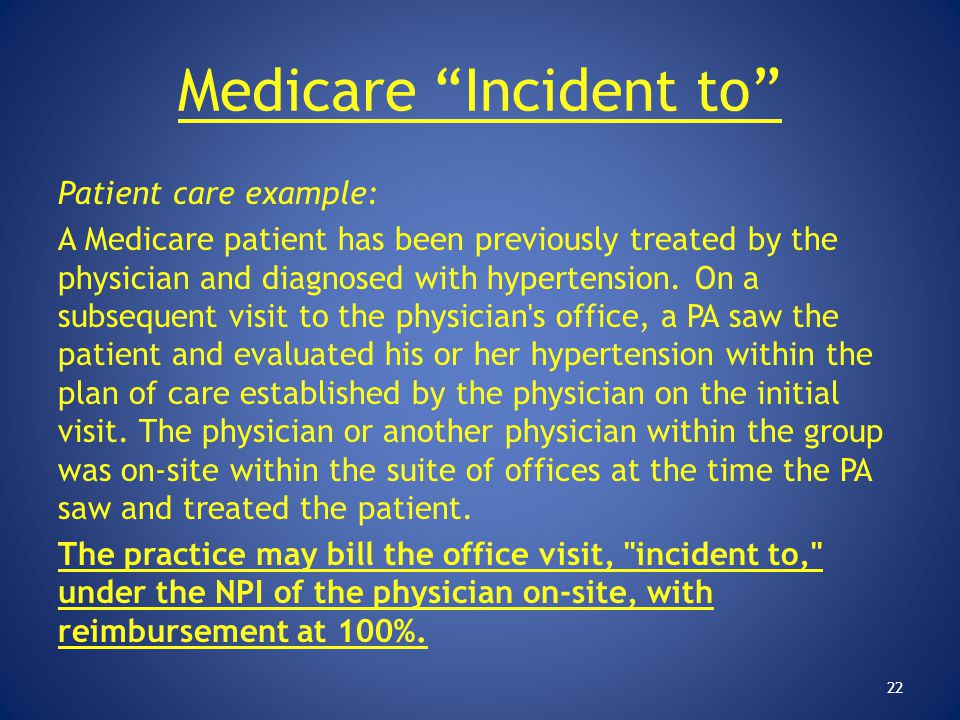 """Medicare """"Incident to"""" Patient care example: A Medicare patient has been previously treated by the physician and diagnosed with hypertension. On a sub"""
