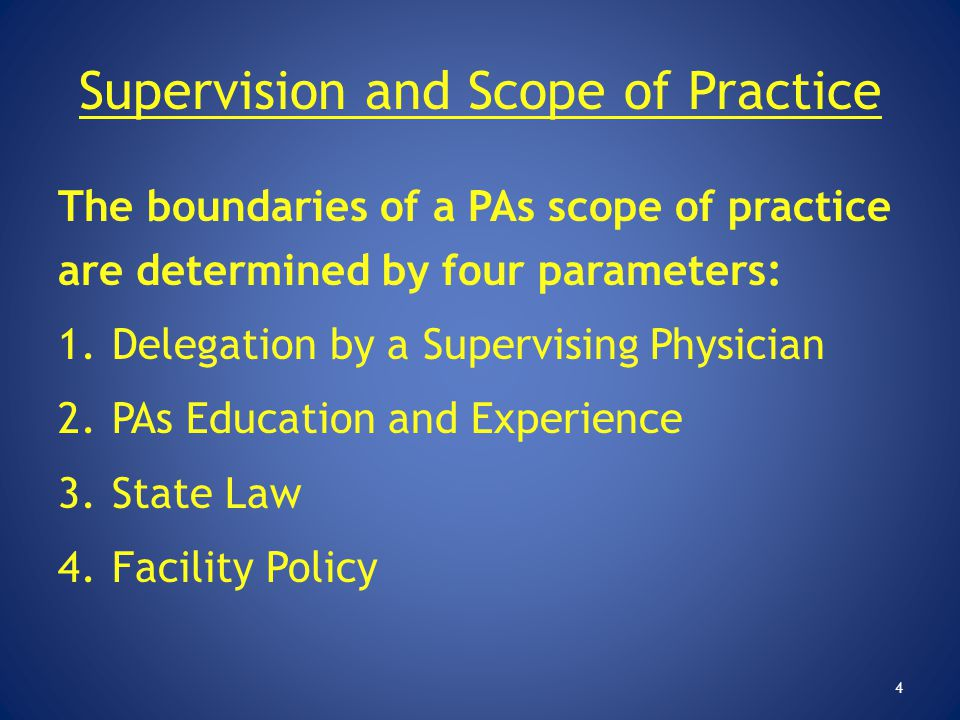 Supervision and Scope of Practice The boundaries of a PAs scope of practice are determined by four parameters: 1.Delegation by a Supervising Physician