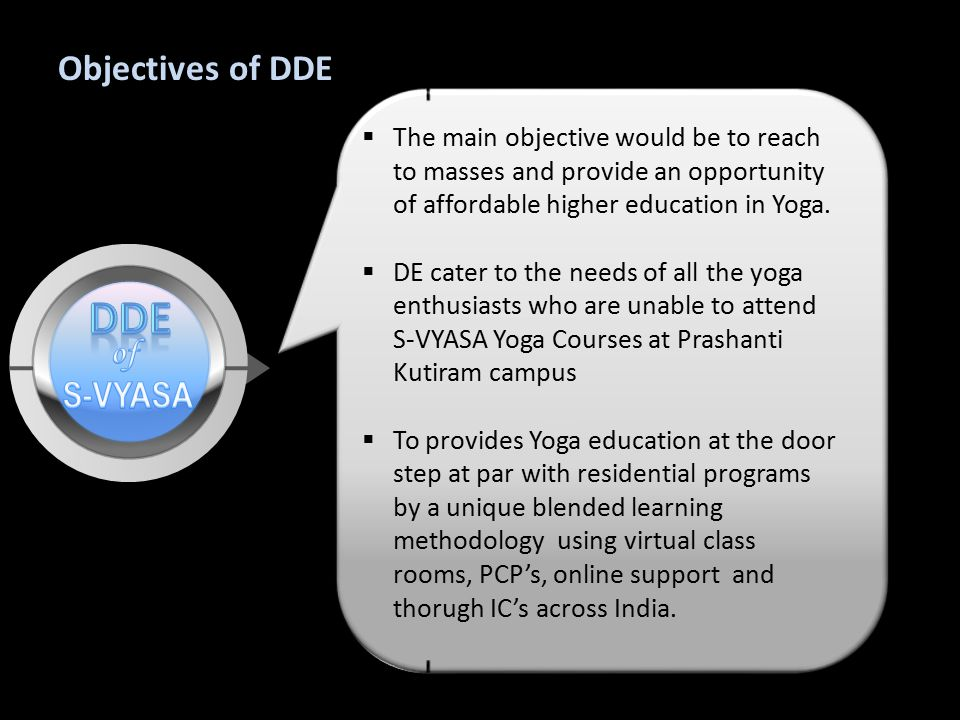 Objectives of DDE  The main objective would be to reach to masses and provide an opportunity of affordable higher education in Yoga.