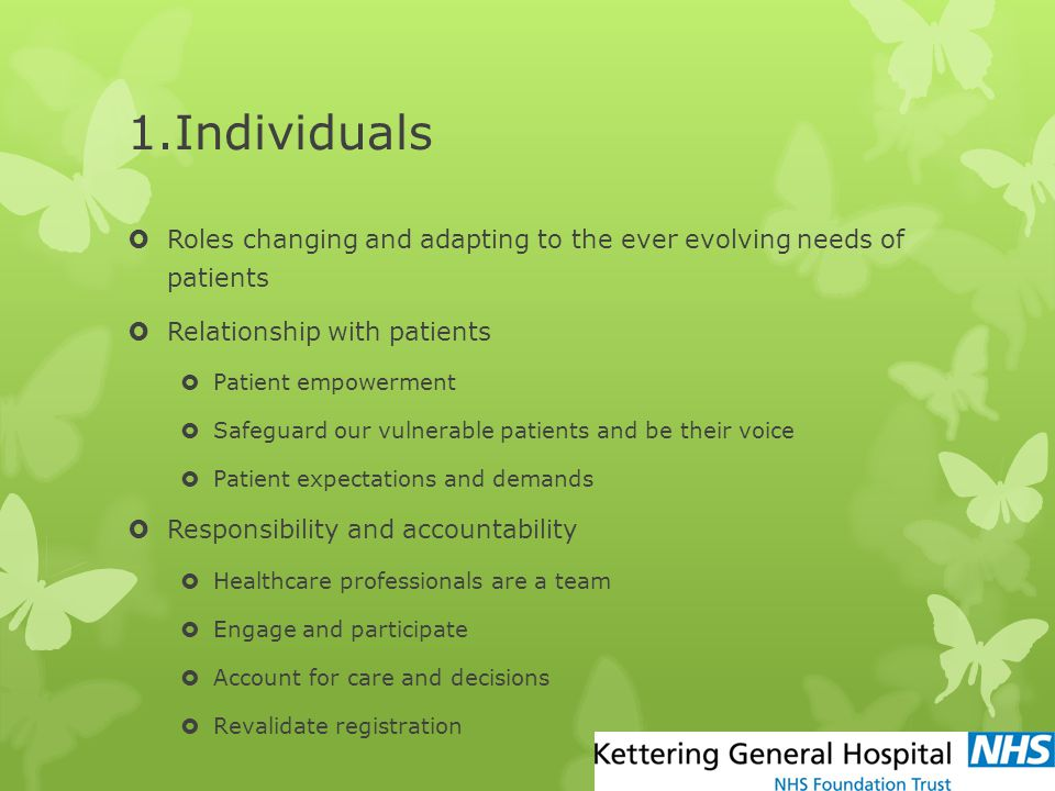 1.Individuals  Roles changing and adapting to the ever evolving needs of patients  Relationship with patients  Patient empowerment  Safeguard our