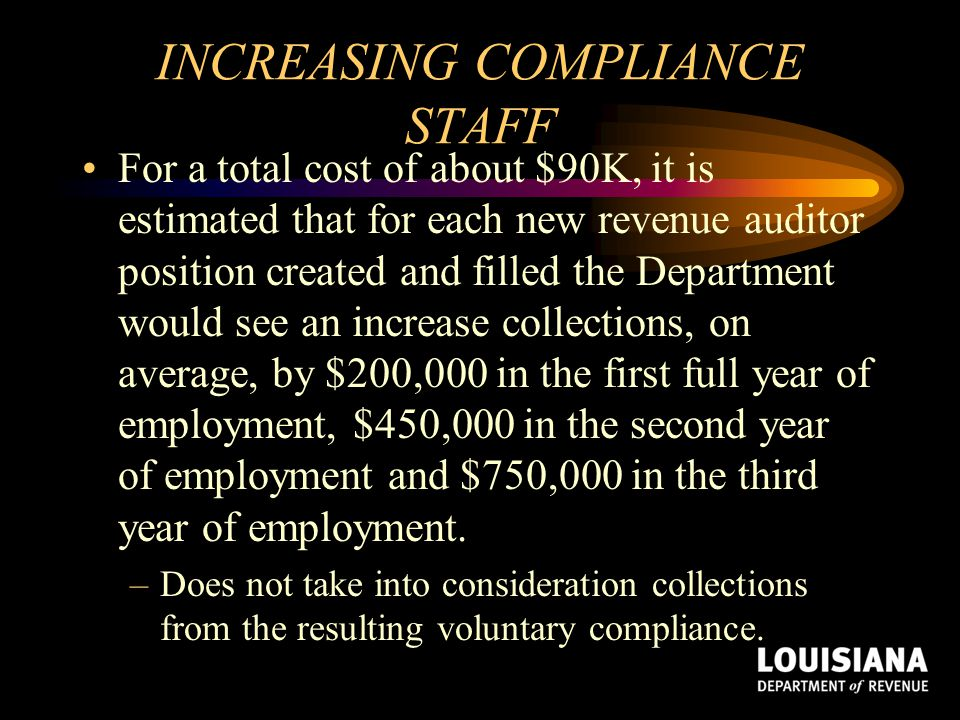 INCREASING COMPLIANCE STAFF For a total cost of about $90K, it is estimated that for each new revenue auditor position created and filled the Departme