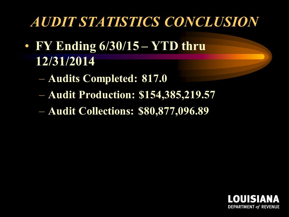 AUDIT STATISTICS CONCLUSION FY Ending 6/30/15 – YTD thru 12/31/2014 –Audits Completed: 817.0 –Audit Production: $154,385,219.57 –Audit Collections: $8
