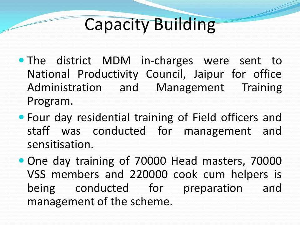 Capacity Building The district MDM in-charges were sent to National Productivity Council, Jaipur for office Administration and Management Training Pro